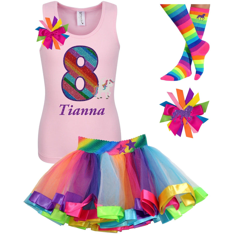 8th Birthday Outfit - Rainbow Unicorn - Outfit - Bubblegum Divas Store