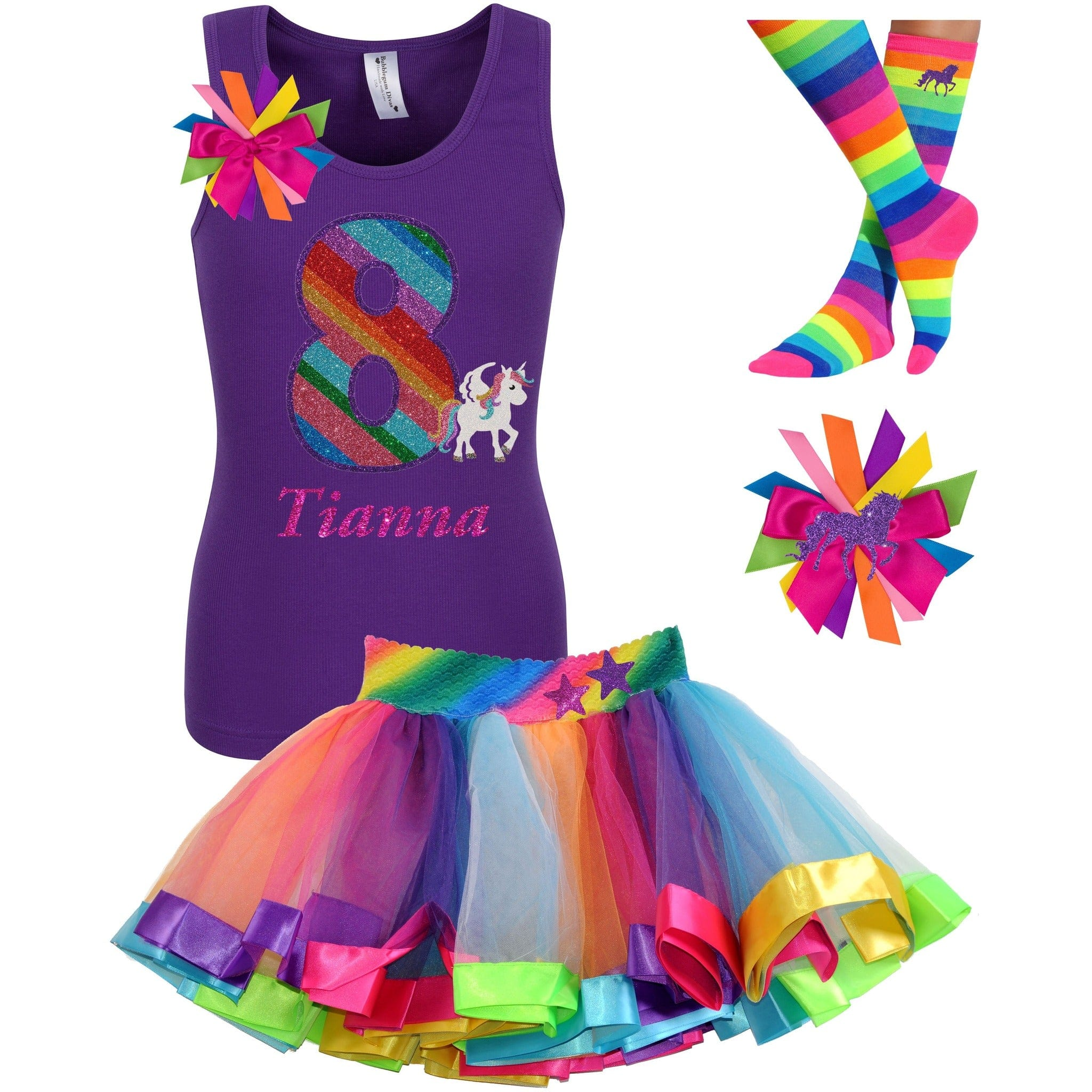 8th Birthday Unicorn Shirt Rainbow Party Outfit 4PC Set