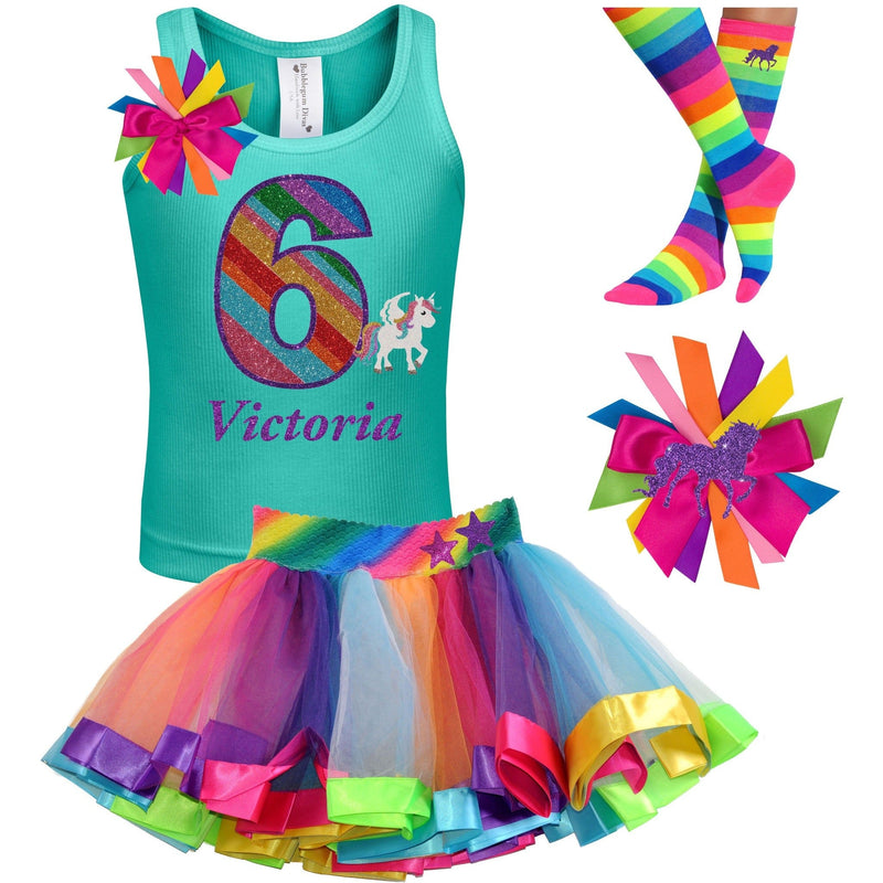 6th Birthday Outfit - Rainbow Unicorn - Outfit - Bubblegum Divas Store