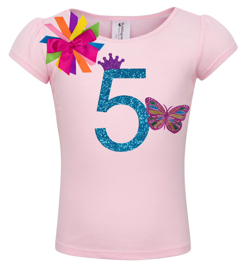 5th Birthday Shirt - Butterfly - Shirt - Bubblegum Divas Store