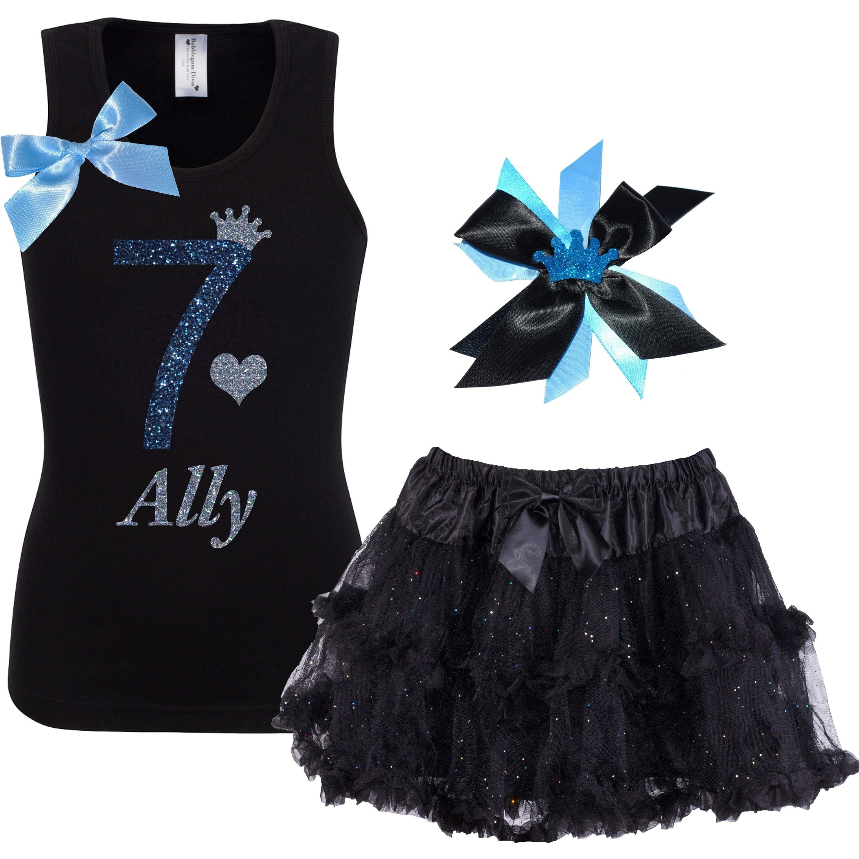 7th Birthday Shirt Black Tutu Skirt Girls Party Outfit - Outfit - Bubblegum Divas Store