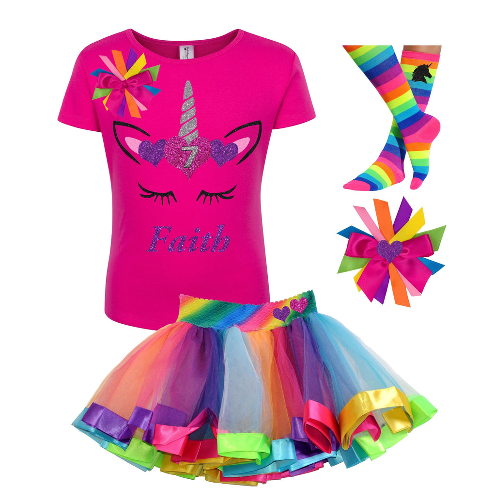 7th Birthday Outfit - Unicorn Hearts