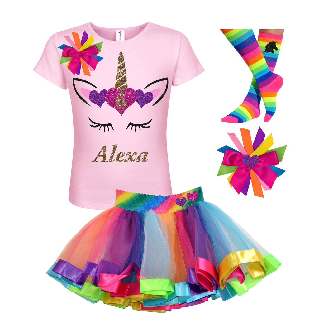 6th Birthday Outfit - Unicorn Hearts - Outfit - Bubblegum Divas Store