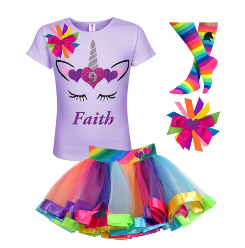 9th Birthday Girl Unicorn Outfit Personalized 9