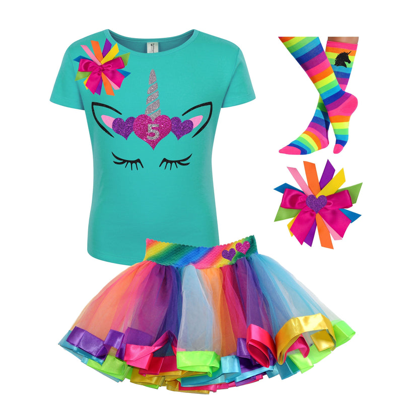 5th Birthday Outfit - Unicorn Hearts - Outfit - Bubblegum Divas Store