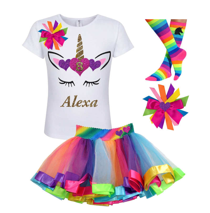 8th Birthday Outfit - Unicorn Hearts