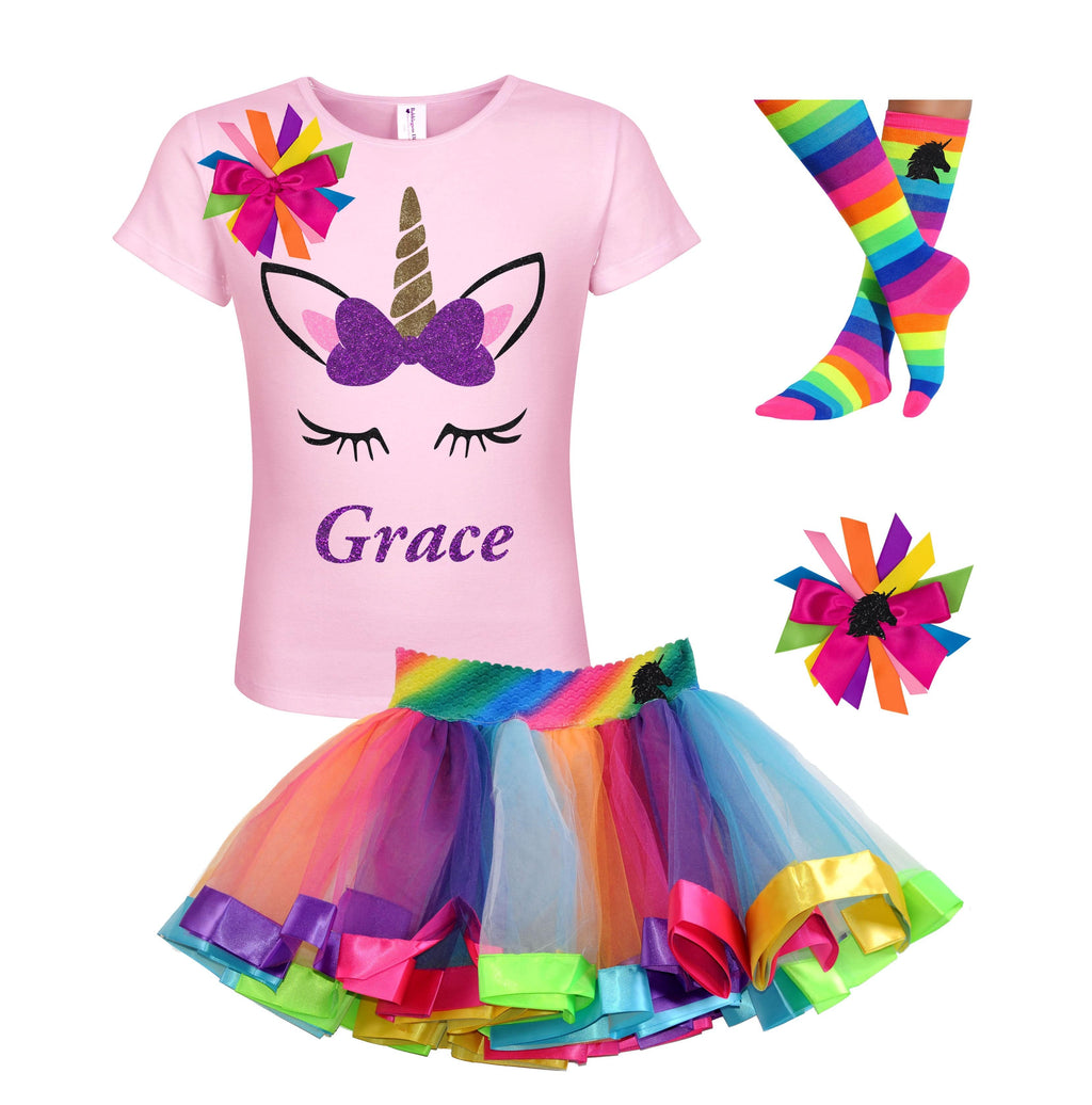 Purple Gold Unicorn Shirt Rainbow Outfit - Outfit - Bubblegum Divas Store