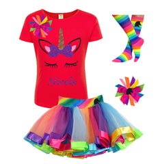 Gold Purple Unicorn Shirt Rainbow Outfit - Outfit - Bubblegum Divas Store