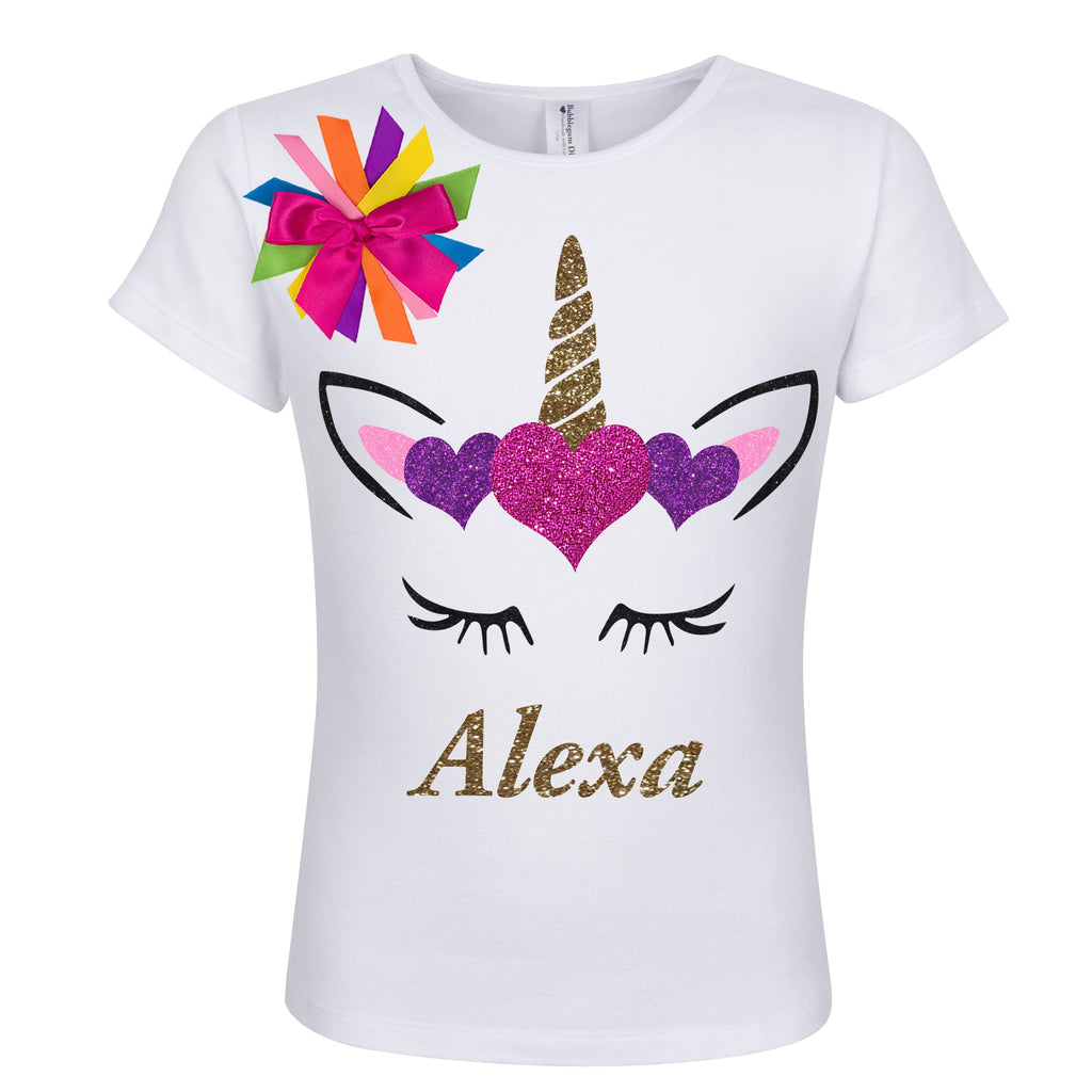Unicorn Hearts Shirt - Gold