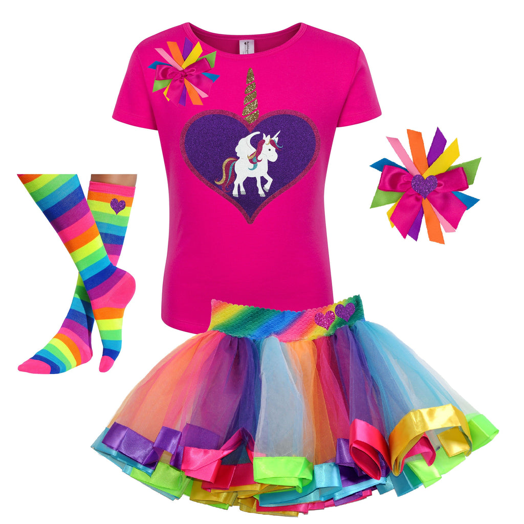 Unicorn Outfit - Big Love Heart Hot Pink