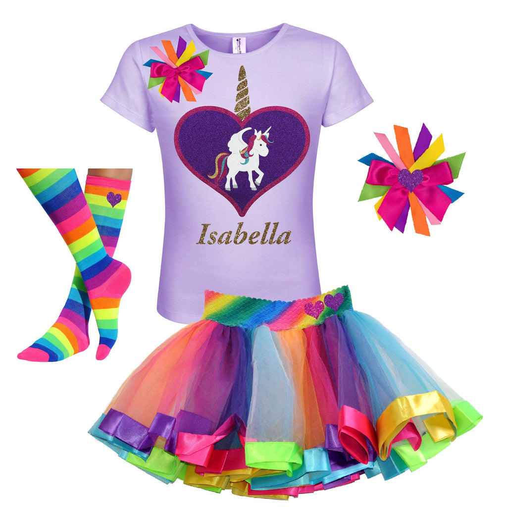 Unicorn Outfit - Big Love Heart Lavender - Outfit - Bubblegum Divas Store