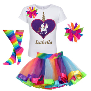 Unicorn Outfit - Big Love Heart White - Outfit - Bubblegum Divas Store