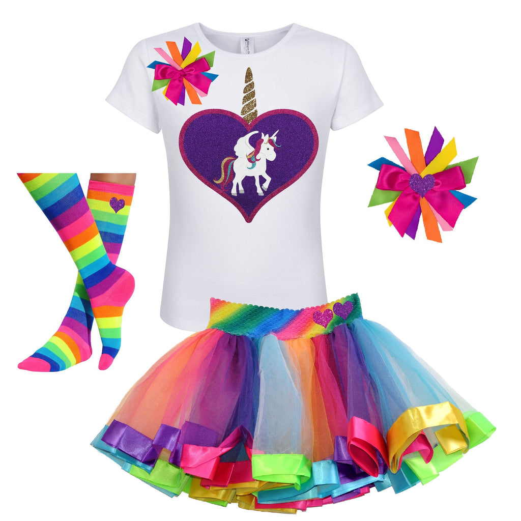 Unicorn Outfit - Big Love Heart White