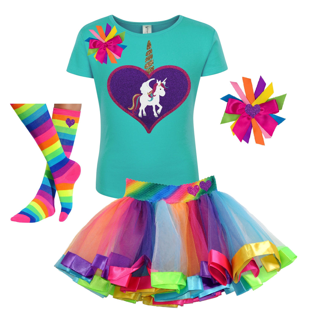 Unicorn Outfit - Big Love Heart Teal - Outfit - Bubblegum Divas Store