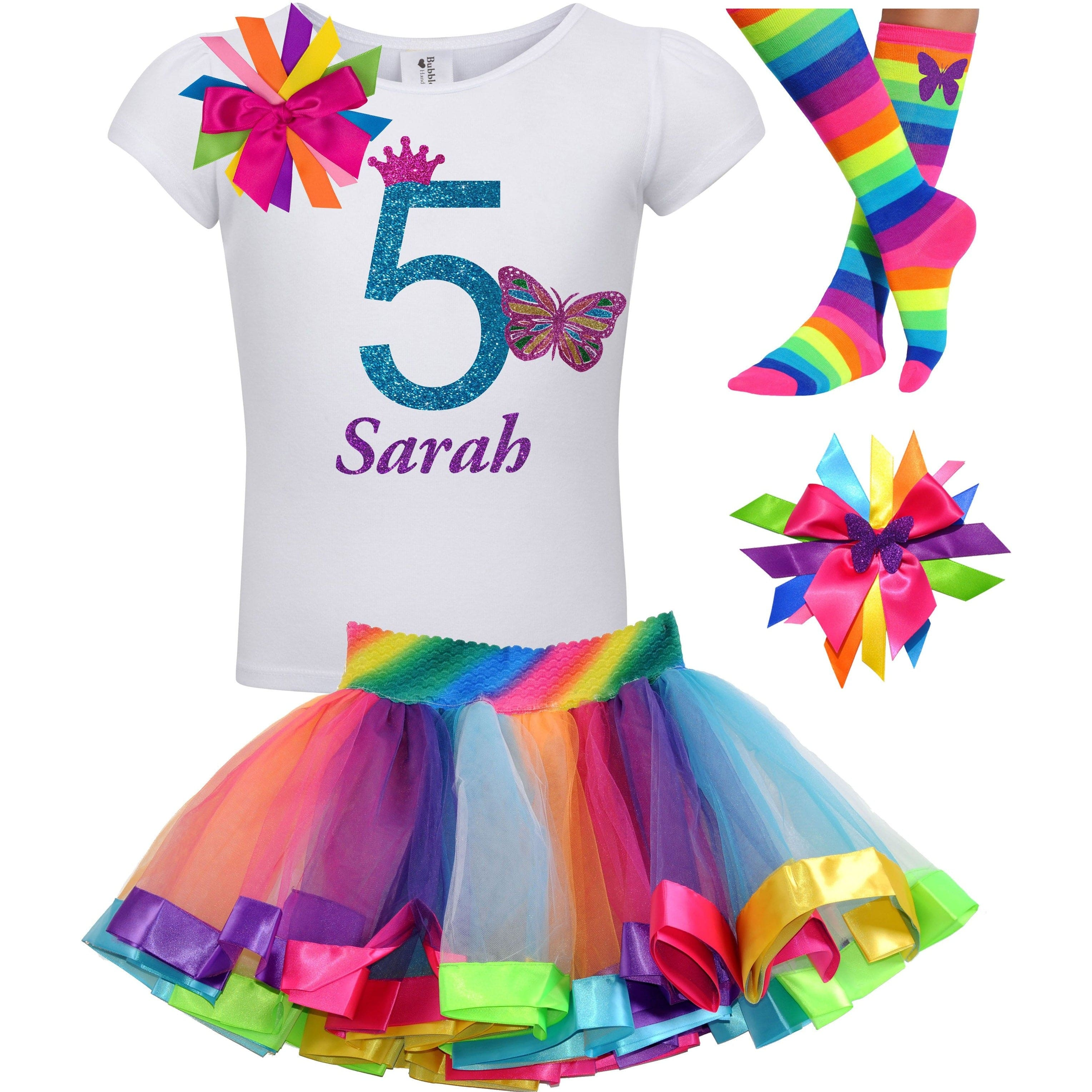 Butterfly 5 Birthday Shirt Rainbow Tutu Girls Party Outfit 4PC Set