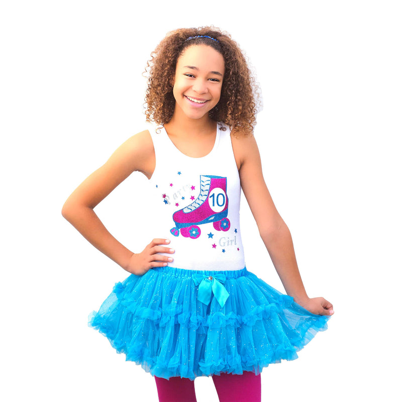 Roller Skate 10th Birthday Outfit Rainbow Tutu Roller Skater Skirt Rainbow 10 Personalized