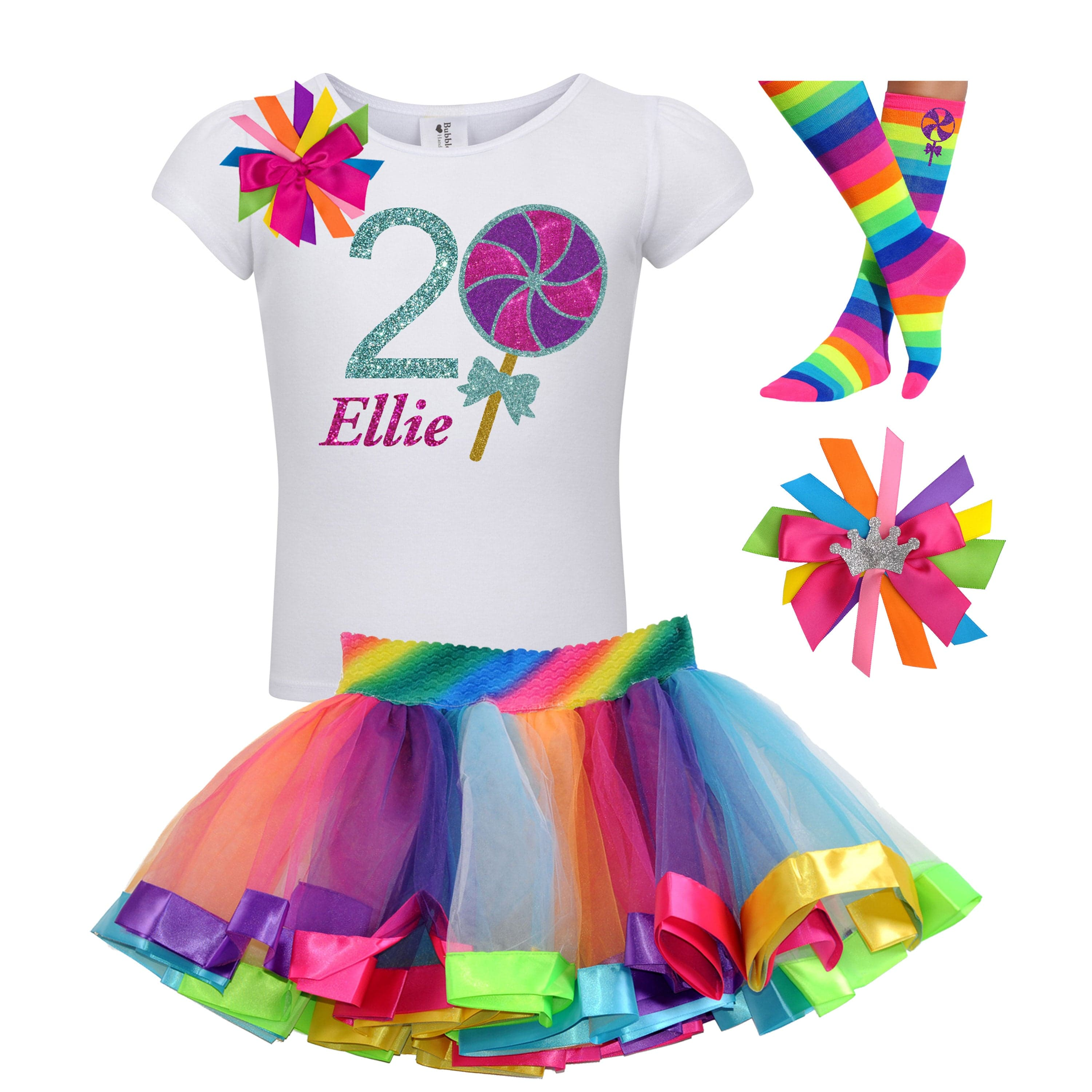 Lollipop Shirt 2nd Birthday Girls Rainbow Tutu Party Outfit 4PC Set