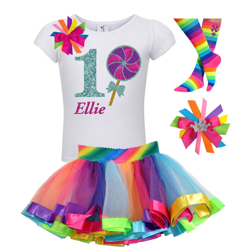 Lollipop Shirt 1st Birthday Girls Rainbow Tutu Party Outfit 4PC Set