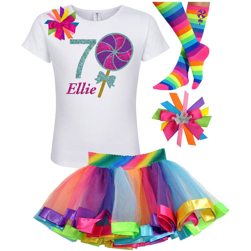 7th Birthday Lollipop Shirt Rainbow Tutu Girls Party Outfit 4PC Set