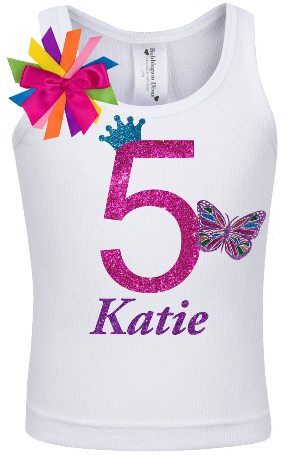 5th Birthday Rainbow Butterfly Shirt - Outfit - Bubblegum Divas Store
