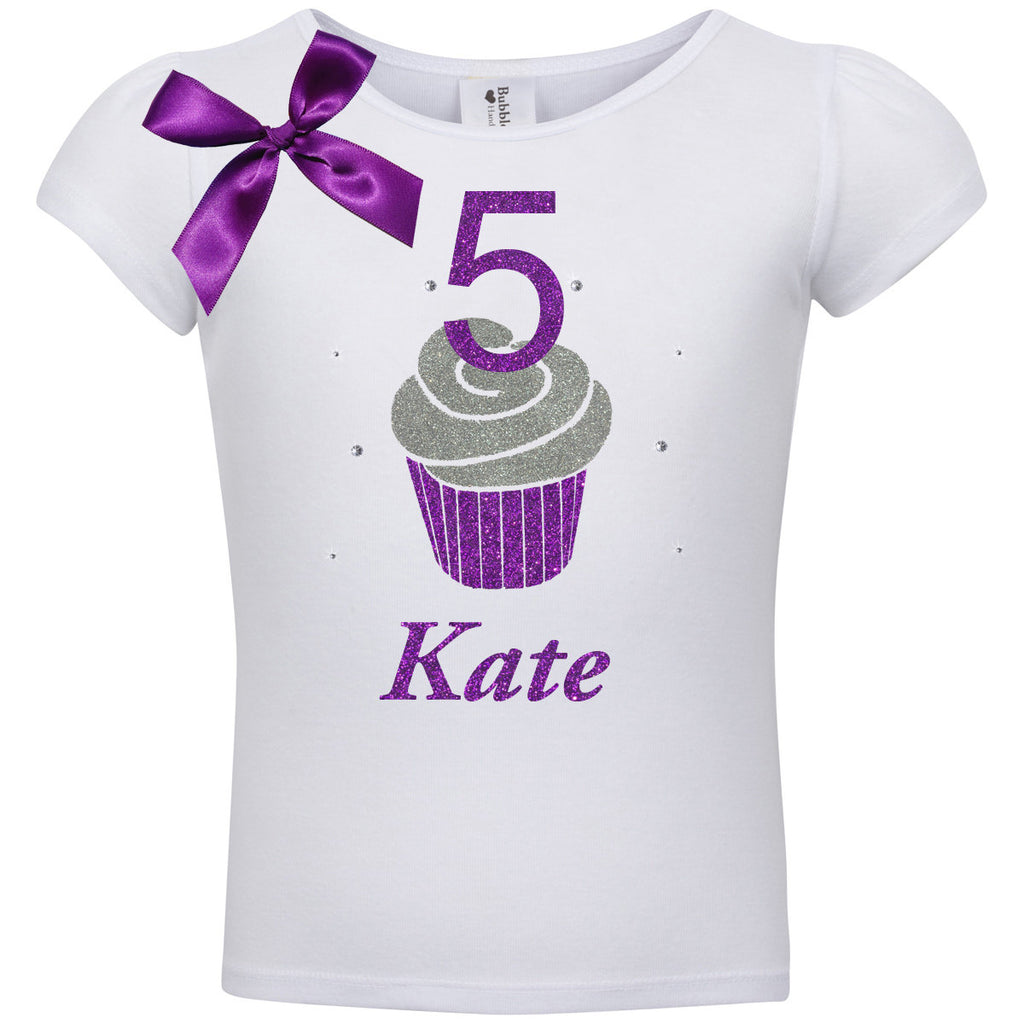 5th Birthday Purple Cupcake Shirt - Shirt - Bubblegum Divas Store