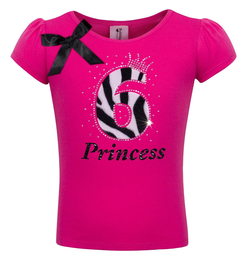 6th Birthday - Zebra Diva Shirt - 6th Birthday - Bubblegum Divas Store