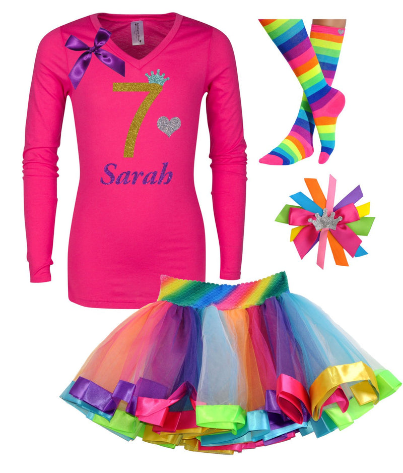 7th Birthday Gold and Pink Shirt Rainbow Tutu Rainbow Party Birthday Hair Bow Personalized Name Rainbow Socks Tutu dress Gold Glitter Seven -  - Bubblegum Divas Store