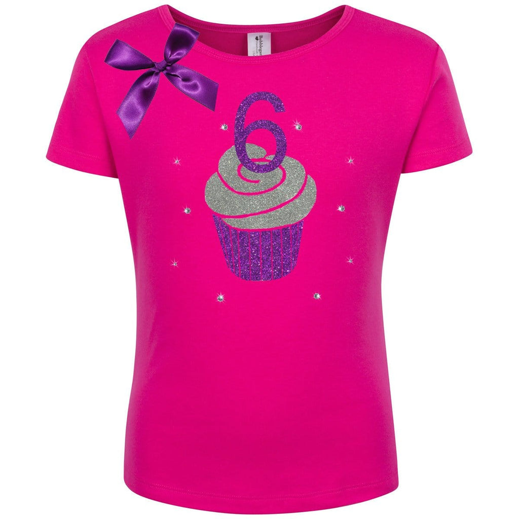 6th Birthday Shirt - Purple Berry Cupcake - Shirt - Bubblegum Divas Store