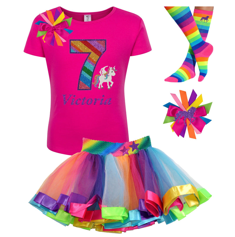 Unicorn Birthday Shirt 7th Outfit Rainbow Tutu Dress Pony Party Socks Hair Clip