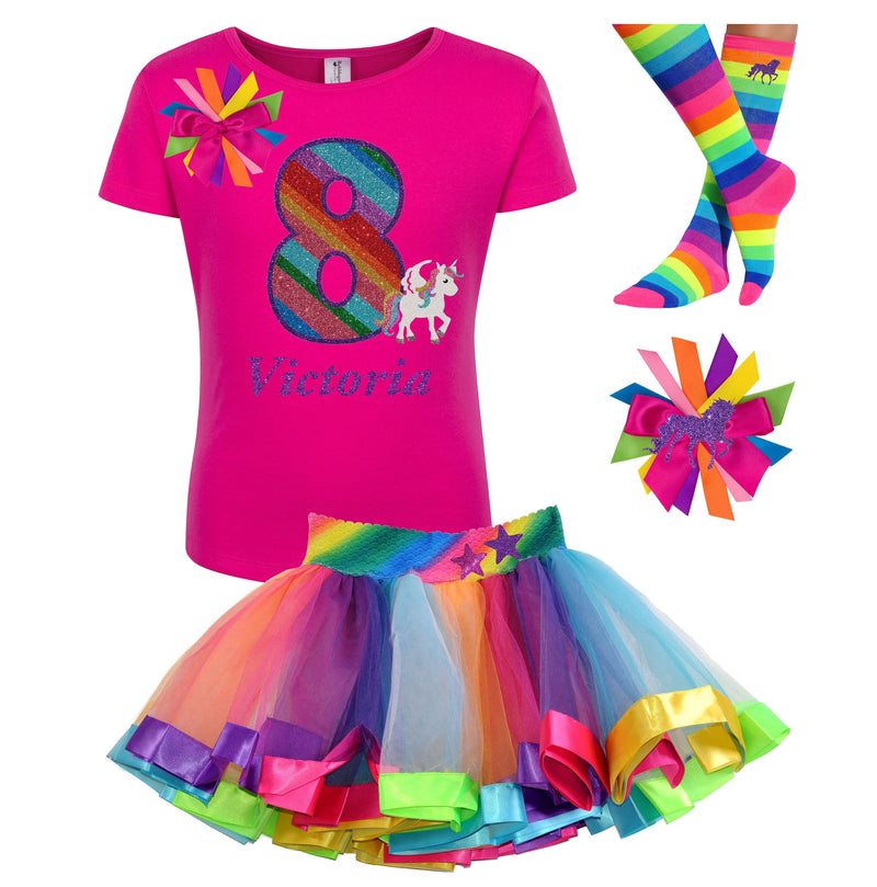 8th Birthday Girls Unicorn Outfit - 8th Birthday - Bubblegum Divas Store