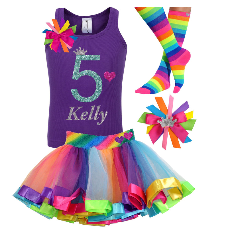 Girls 5th Birthday Shirt Rainbow Tutu 5th Birthday Party Hot Pink Princess Party Rainbow Socks Birthday Hair Bow Personalized Name Shirt 5