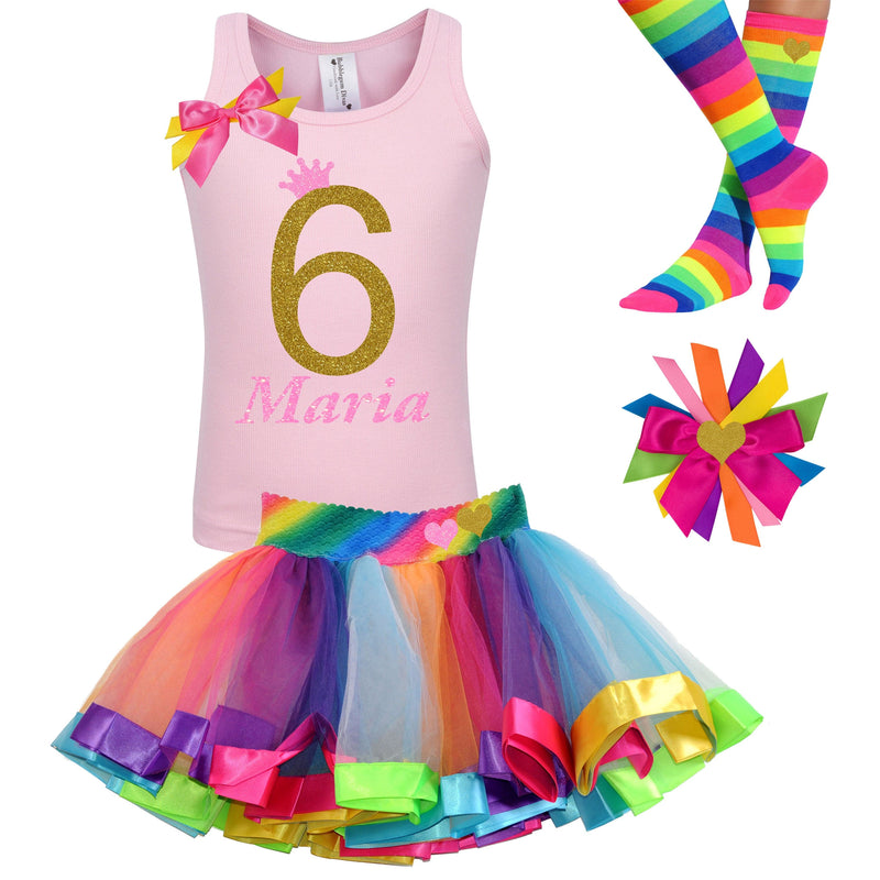 6th Birthday Shirt 6 Pink Gold Rainbow Tutu Rainbow Party Birthday Hair Bow Personalized Name Rainbow Knee Sock Tutu Dress Neon Glow Party