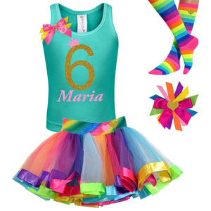6th Birthday Girl Outfit Black Gold Rainbow - Outfit - Bubblegum Divas Store