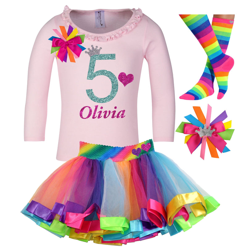 Rainbow 5th Birthday Party Outfit Rainbow Tutu Skirt Girls Long Sleeve Shirt Rainbow Knee Socks Birthday Hair Bow Custom Name Age 5 Gift Set