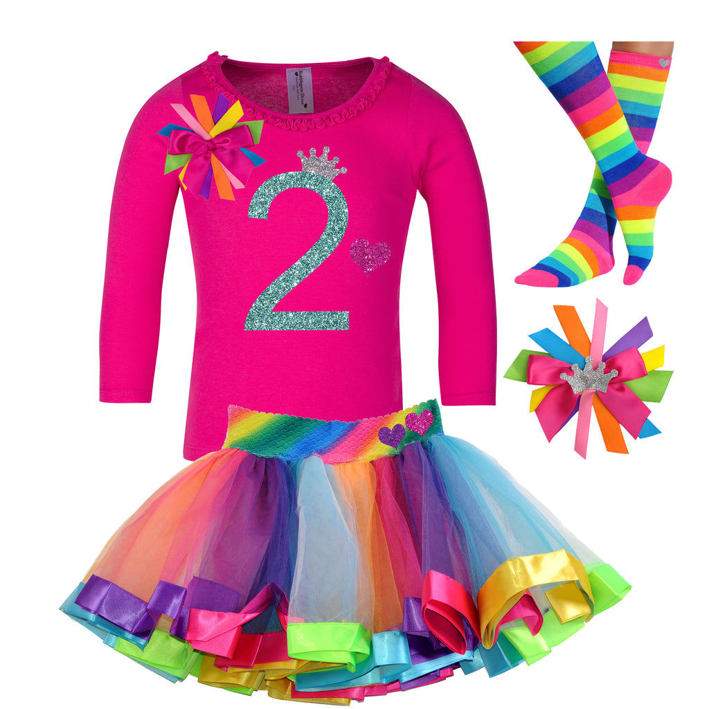 2nd Birthday Girl Long Sleeve Outfit - 2nd Birthday - Bubblegum Divas Store