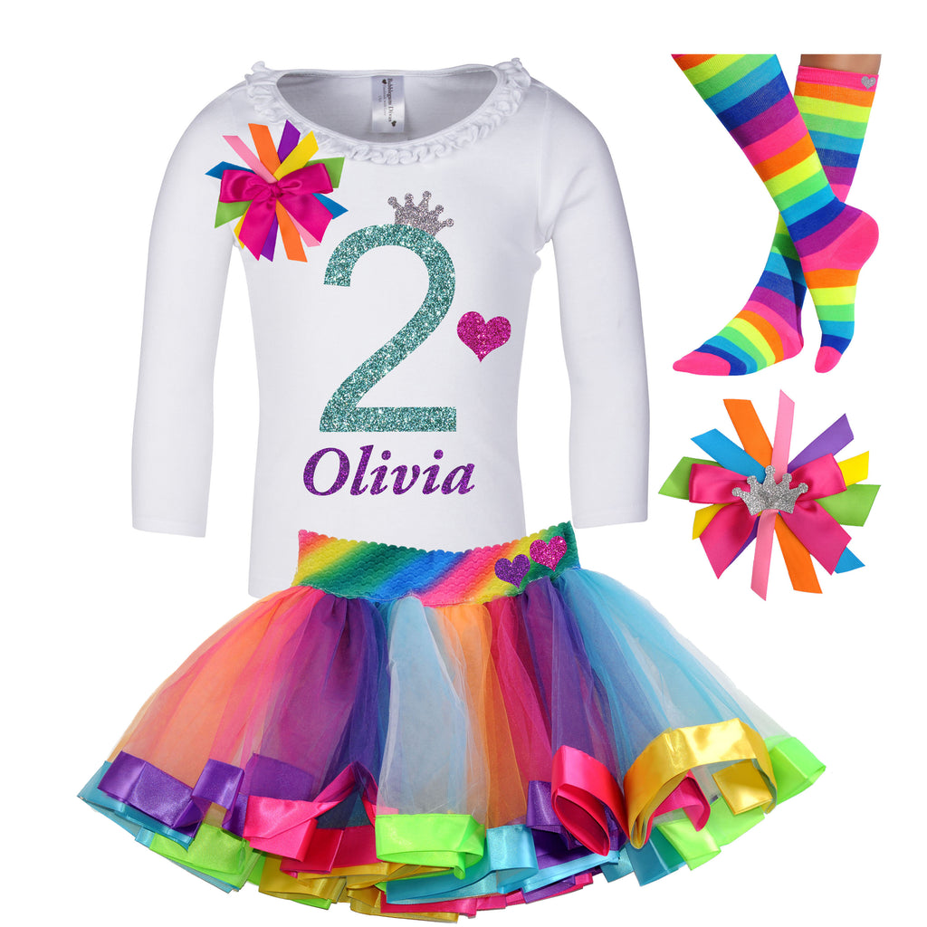2nd Birthday Long Sleeve Shirt Rainbow Tutu Happy 2nd Birthday Girl Personalized Name Shirt 2 Rainbow Birthday Hair Bow Princess Party