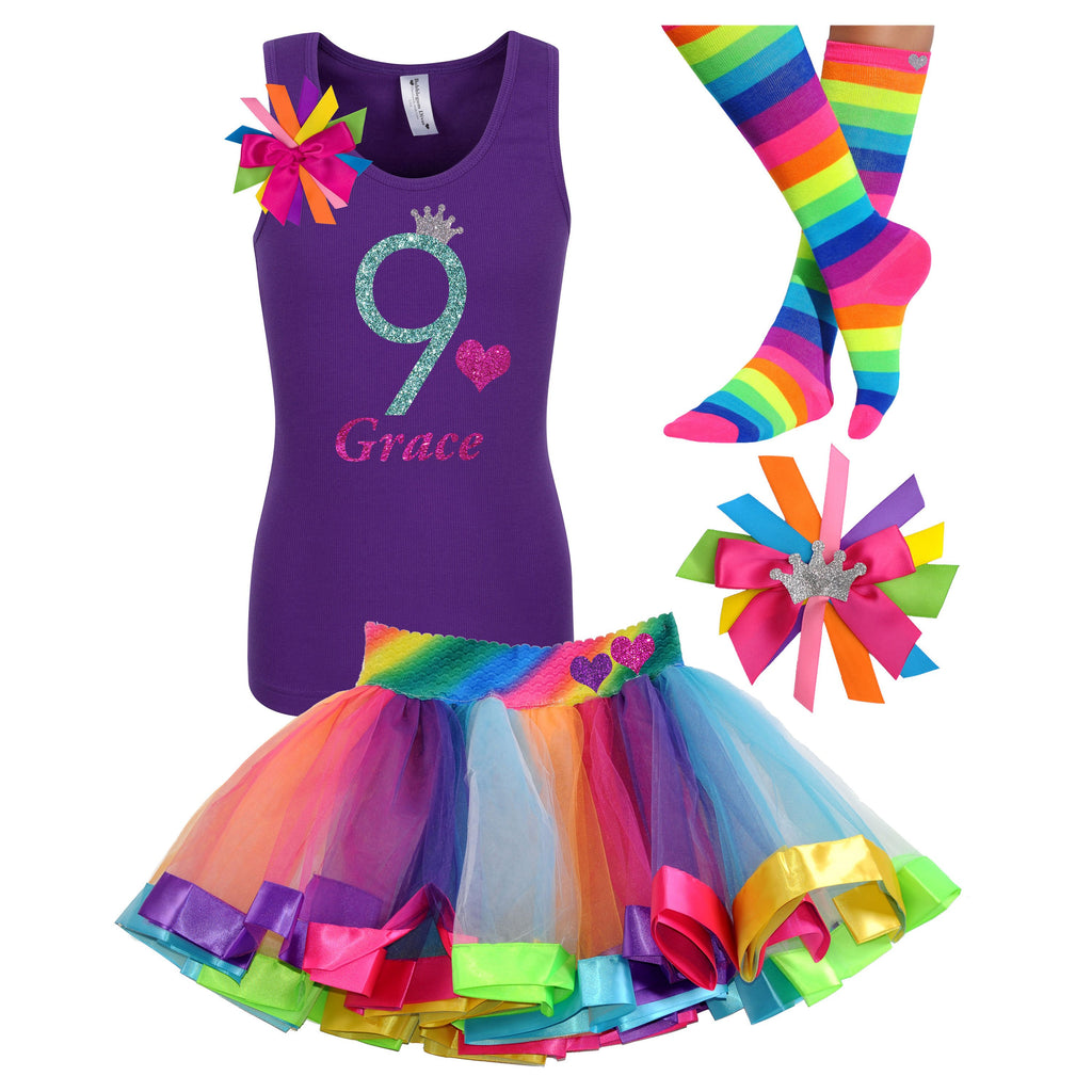 9th Birthday Outfit Purple Rainbow - 9th Birthday Outfit - Bubblegum Divas Store