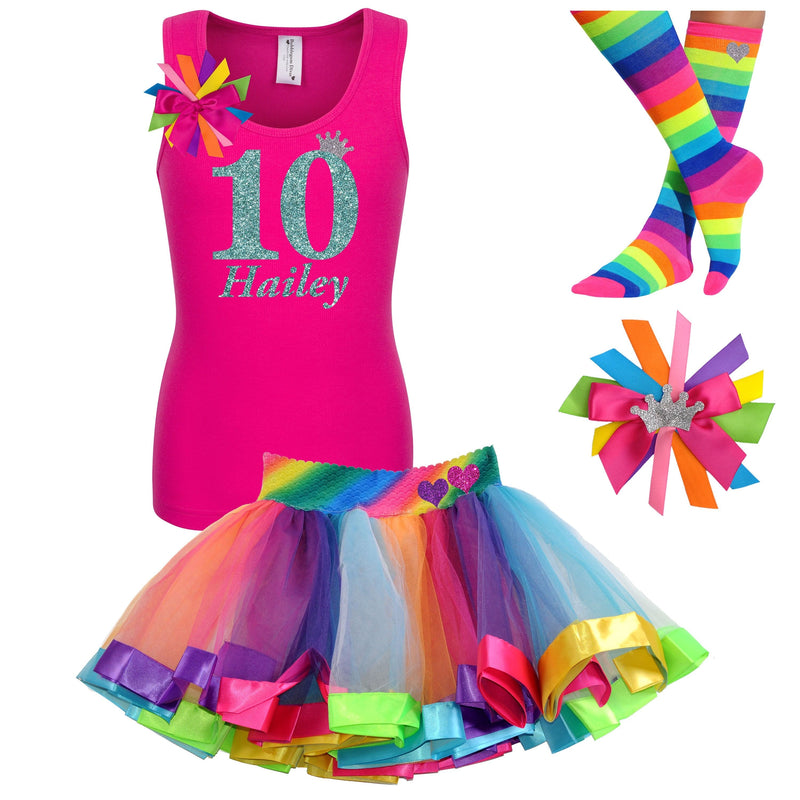 10th Birthday Girl Shirt Rainbow Party Outfit - 10th Birthday - Bubblegum Divas Store
