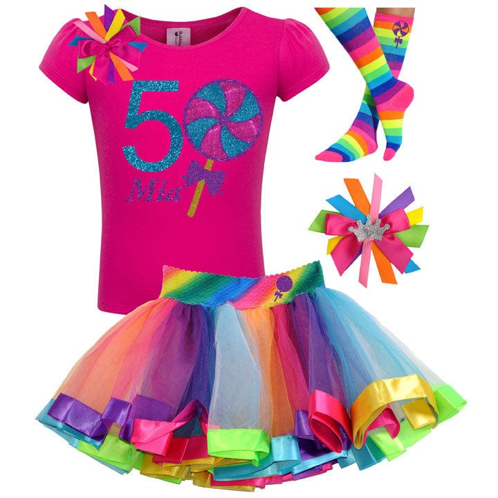 5th Birthday Giant Lollipop Candy Rainbow Tutu Skirt Hair Bow Kids Party Socks Swirly pop Sweet Shop Carnival Circus Personalized Shirt 5