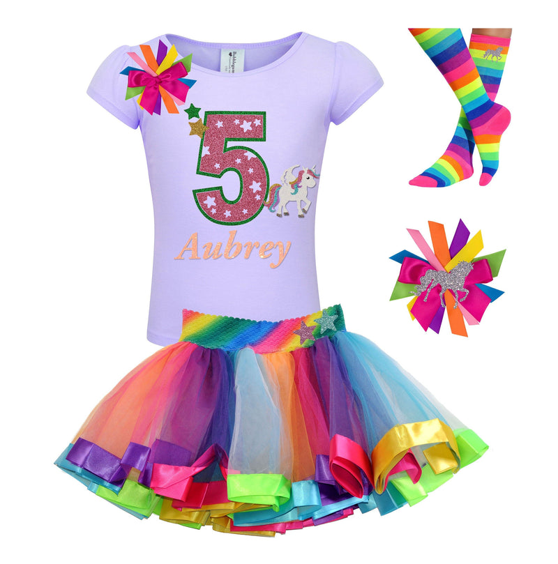 5th Birthday Girl - Star Unicorn Shirt - outfit - Bubblegum Divas Store