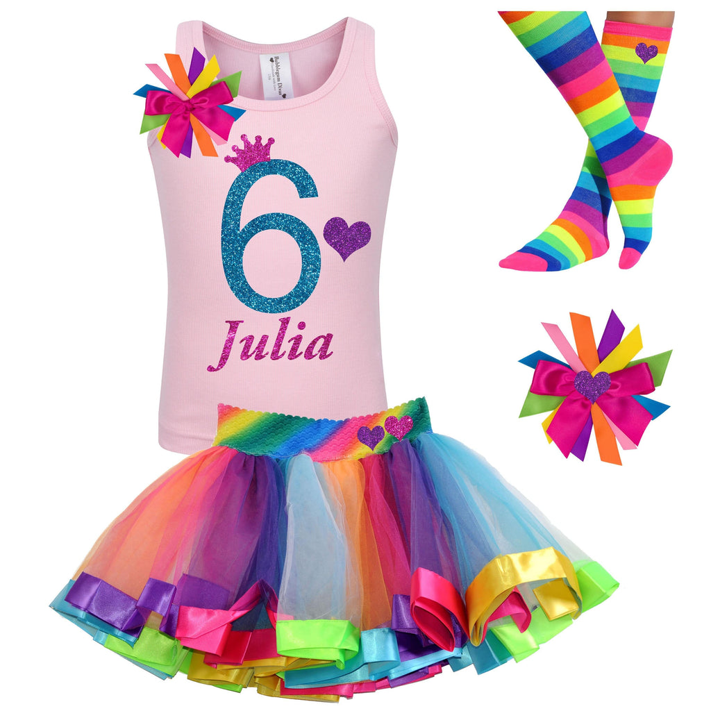 Rainbow 6th Birthday Rainbow Tutu Rainbow Dress 6 Rainbow Party Birthday Hair Bow Rainbow Socks Pink 6th Birthday Outfit Personalized Name
