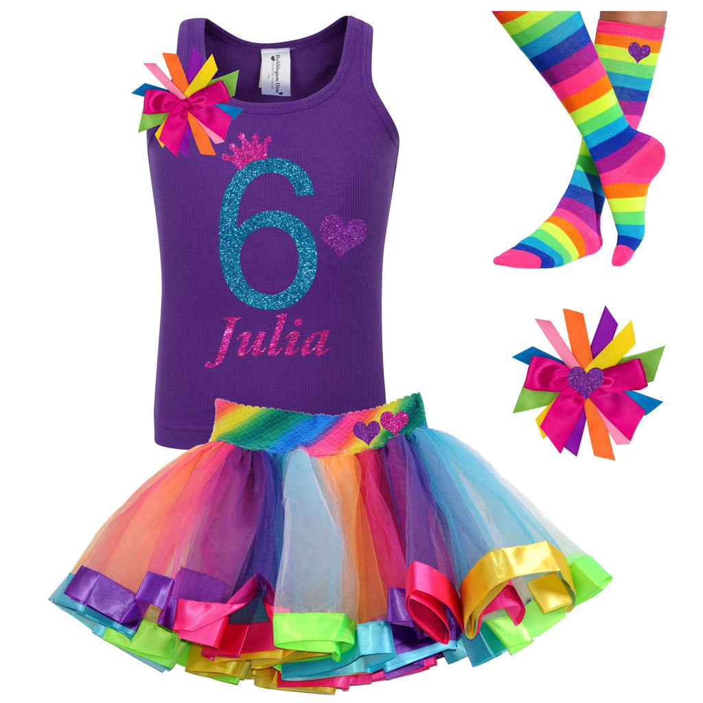 Rainbow 6th Birthday Tutu Dress 6 Rainbow Party Outfit Purple Glitter Heart Hair Bow Rainbow Knee High Socks 6th Birthday Personalized Name