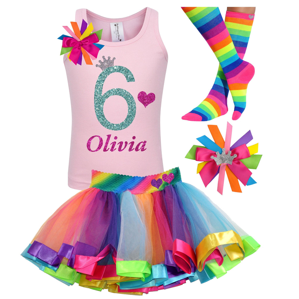 Purple Rainbow 6th Birthday Shirt Rainbow Tutu Rainbow Dress Rainbow Party Sixth Birthday Primary Color 6 Birthday Outfit Personalized Name