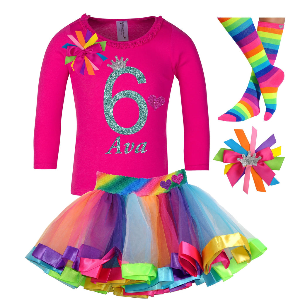 6th Birthday Outfit Ruffle Long Sleeve - 6th Birthday - Bubblegum Divas Store