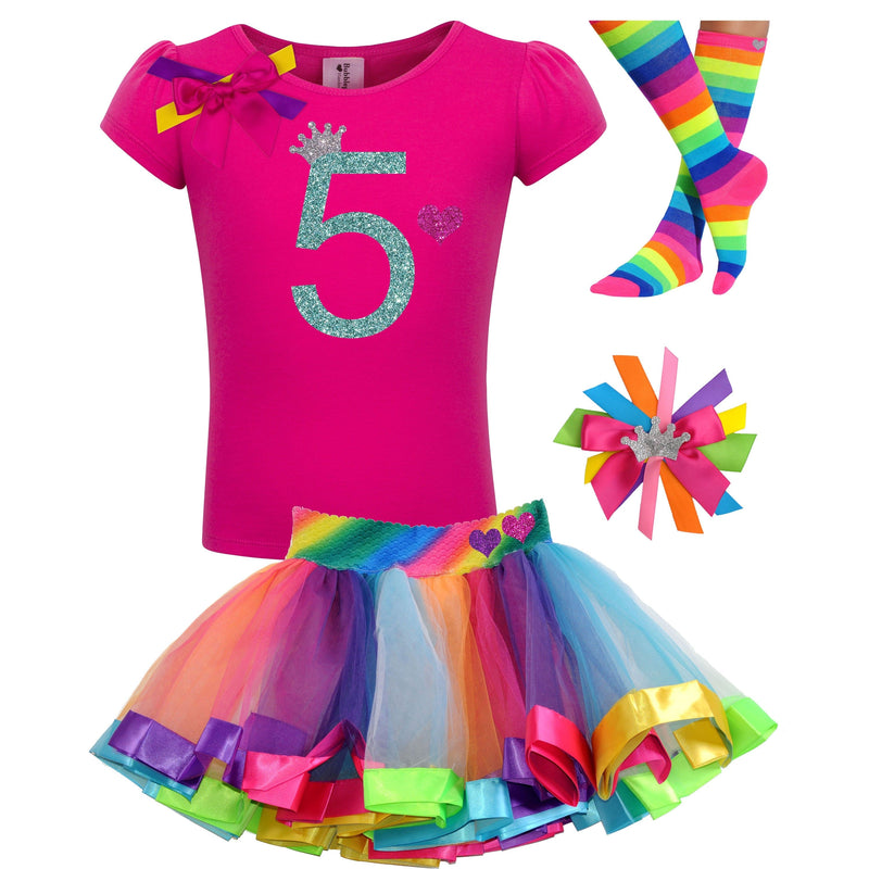 5th Birthday Girl Shirt Hot Pink Birthday Shirt Birthday Girl Shirt Personalized Shirt 5 Rainbow Party Tutu Birthday Hair Bow Rainbow Socks