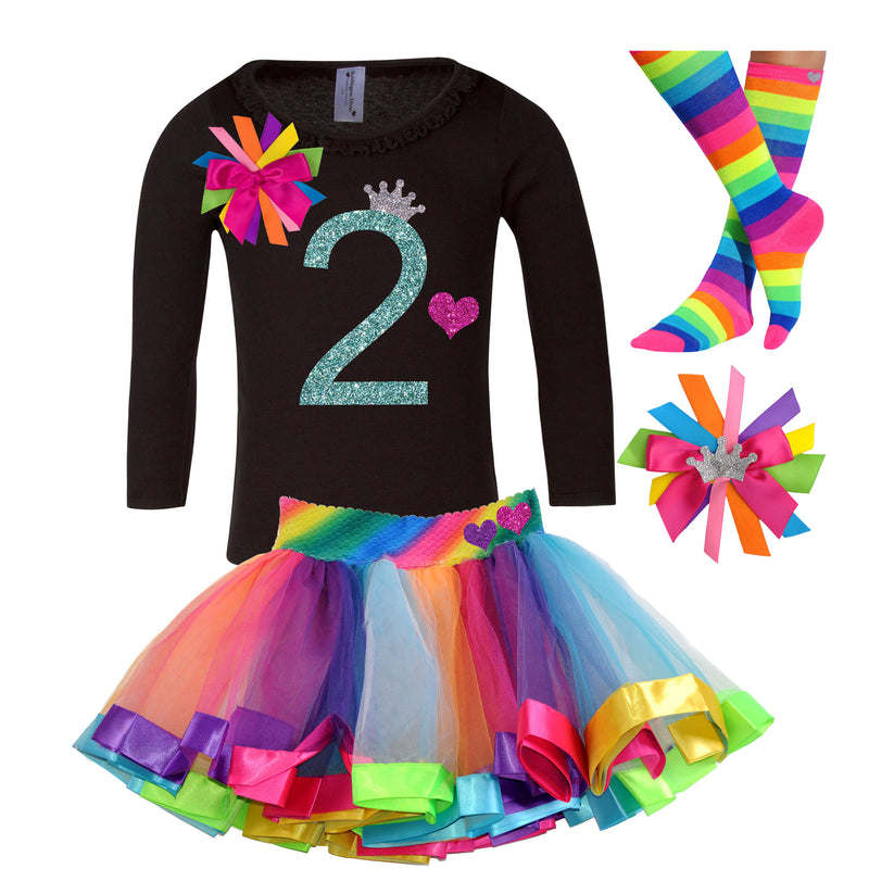 2nd Birthday Long Sleeve Shirt Rainbow Tutu Princess Party Rainbow Birthday Hair Bow Personalized Name Shirt Tiara Crown Pink Heart Shirt 2