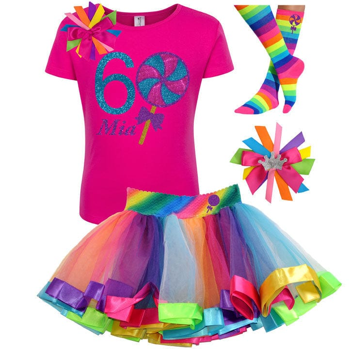 6th Birthday Pink Lollipop Shirt Candy Sweet Shop Rainbow Tutu Outfit Girls Candy Themed Candy land Theme Carnival Birthday Party Name Six 6