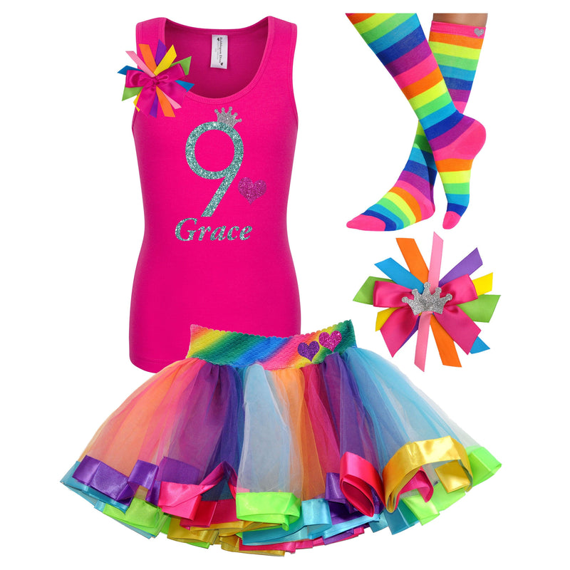 Rainbow Birthday Outfit 9th Birthday Shirt Girls Party Hair Bow Rainbow Tutu Neon Knee High Socks Personalized Name Age 9 Glitter Glow Party