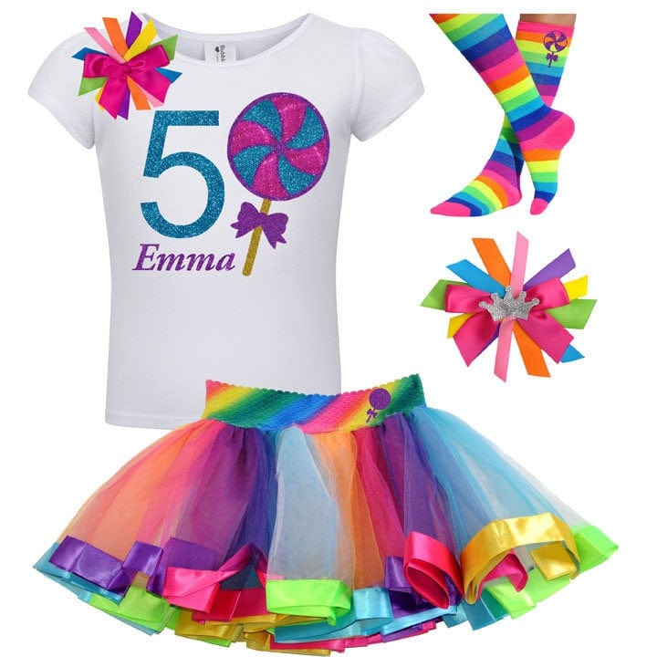 Lollipop Blueberry Swirl 5th Birthday - Lollipop Birthday Outfits Baby Toddler Girls - Bubblegum Divas Store