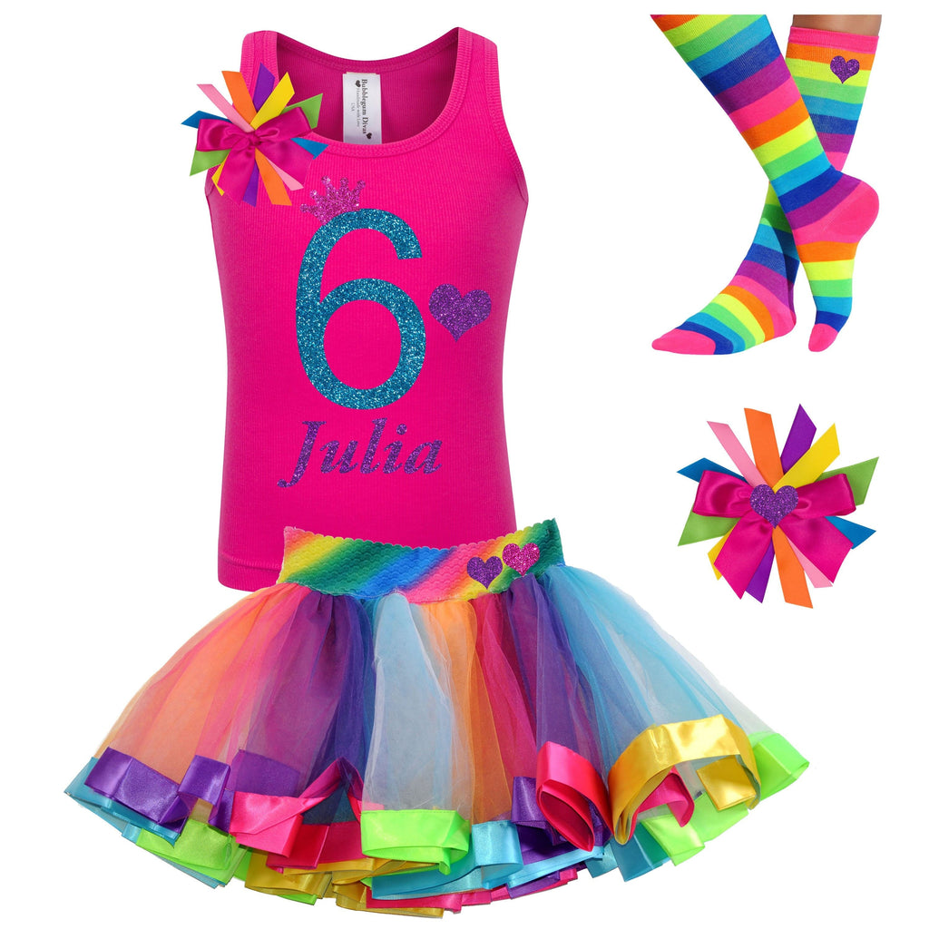 Pink Rainbow 6th Birthday Rainbow Tutu Rainbow Dress 6 Rainbow Party Birthday Hair Bow Rainbow Socks 6th Birthday Outfit Personalized Name